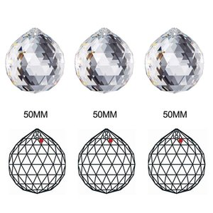 50mm Crystal Ball Decorating Clear Glass Crystal Ball Prism Pendant clear faceted beads Rainbow Maker Wedding Home Office Decoration CCF6412