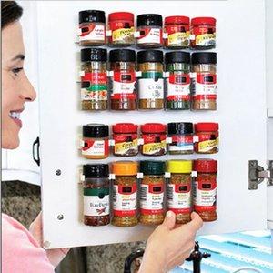 4 Pcs Kitchen Storage Rack Wall Mount Ingredient Spice Bottle Rack Plastic Clip Rack Cabinet Door Hooks Jars Spice Holder Tools