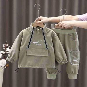 kids children's two piece pants set half zipper pullover hoodie zip jacket acoat and side pocket pants outifts sportswear designers sweat suit clothing set G91JBXM