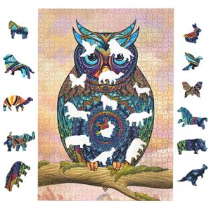 Puzzle 1000 Pieces Animal Round Jigsaw Puzzles For Adults Paper Assembling 3D Owl Puzzle Game Educational Toys for Children Kids 210330