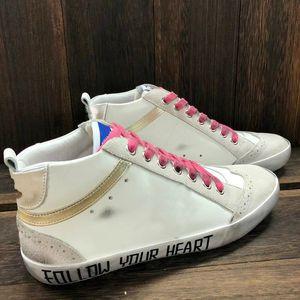 Meados Estrela Alta Superior Tapetes Sapatilhas Itália Clássico Branco Do-velho Designer Sujo Designer Mulheres Sapato Snakeskin Cópia De Couro