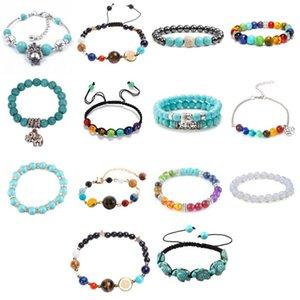 Mutil-Color Rainbow 7 Chakra Bracte Bracelet Black Lava Balance Beaders Женщины Мужчины Натуральный Камень Yoga Будда Молитвенные Ювелирные Изделия Ссылка, Цепочка