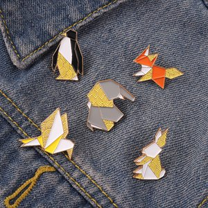 Origami Geometric Animals Metal Enamel Pins Ripple Creative Colorful Animal Brooches Clothes Cartoon Fashion Jewelry Gifts