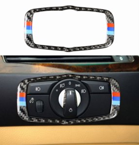 For BMW X5 X6 E70 E71 2008-2013 Real Carbon Fiber Headlight Switch Button Cover
