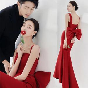 Studio Theme Clothing Couple Suspender Po Wedding Red Fishtail Slim Fit Big Bow Fashion Drs