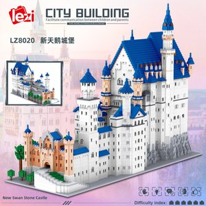 New Swan Castle adult's high difficulty assembling model building block toys with micro diamond particles