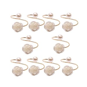 10Pcs Lot Wedding Pearl Rose Flower Napkin Buckle Ring Decoration Circle Rings