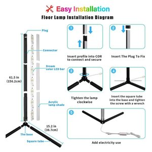Bar Lights Sturdy Lashahope Led Floor Lamp,RGB Color Changing Mood Lighting Corner Lamp With App And Remote Control Safe & Easy Install