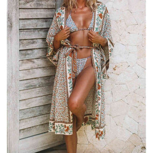Women's Blouses & Shirts Summer Shawl Holiday Cardigan Tops Floral Beach Cover Up Blouse Bikini Casual Beachwear Swimwear