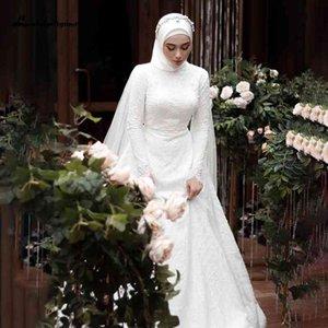 2021 New Long Sleeve Muslim Wedding Es with Hijab Full Lace Applique Bow Sweeping Train Bridal Custom Made Arabic Gelinlik 75ru