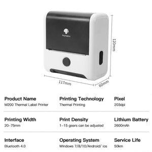 Printers Label Printer M200 Bluetooth Thermal Impresoras Portatil Po Imprimante Mini Portable Termica De Fotos Sticker
