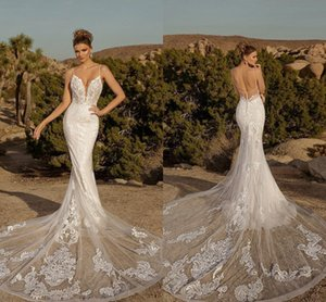 2021 Spaghetti Straps Mermaid Wedding Gowns Sexy Backless Lace Appliqued Bridal Dress Court Train Vintage robes de mariée Plus Size Beach Country Vestidos AL8910