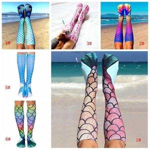 جديد المنسوجات المنزلية الكرتون 3D مطبوعة حورية البحر الذيل الشاطئ أزياء مريحة عالية الركبة جوارب بالجملة