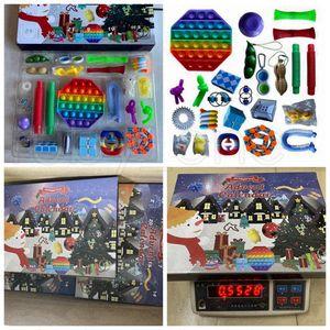 Christmas Fidget Toys Advent Calender 24 Days Countdown Calendar Simple Dimple Decompression Toy Push Bubbles Xmas Gift RRA4402