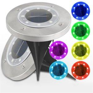 IP65 Su Geçirmez 8 LED Güneş Açık Zemin Lambası Peyzaj Çim Yard Merdiven Yeraltı Gömülü Gece Lambası Ev Bahçe Dekorasyon