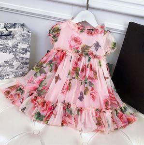 Yaz parti tarzı elbise kız elbise çocuk çocuklar kısa kollu elbiseler çiçek elbise