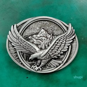 1 Pcs Fashion Men's Oval 3D Silver Fly Eagle Metal Cowboy Belt Buckle Fit 4cm Wide Jeans Belt
