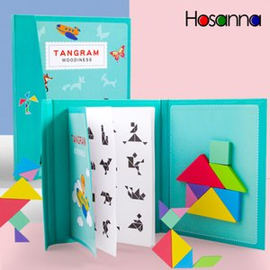 Magnetic Tangram Puzzle Book Portable Baby Toys Kids Montessori Intelligence Jigsaw Puzzle Wooden Educational Toys for Children