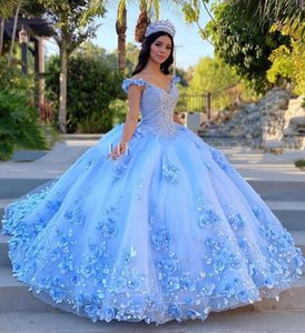 Light Sky Blue Quinceanera Dresses Ball Gown Off Shoulder 3D Rose Flowers Puffy Sweet 16 Dress Celebrity Party Gowns Graduation