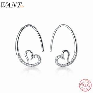 Woneme мода корейский милый романтический влюбленность Pave CD ушной крючок серьги подлинный 100% стерлингового серебра минималистский ювелирные изделия день рождения подарок 210507