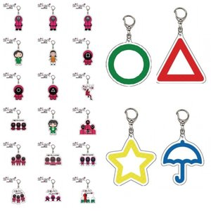 Squid Game Keychain Popular Toy Anime Surrounding Triangle Square Circle Icon Wooden People Pontang PVC Keychains