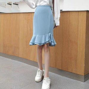 Spring Summer High Waisted With Women Skirt Zipper Irregular Falbala Chiffon Solid Black Blue Mid Length Mermaid Skirts