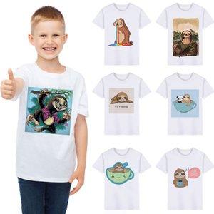 Short Sleeve Fashion Fun Kids Clothes Girls Sloth Cute T Shirt Enfant Harajuku Top Round Neck Print Boy T Shirts For Children