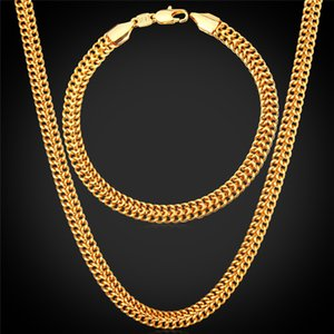 Men's 18K Stamp Gold Chain for Men Jewelry Fancy Jewelry Design Gold Plated New Fashion Chain Necklace Bracelet Set