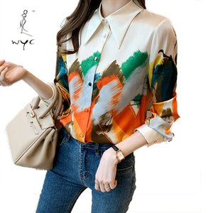 Women's Blouses & Shirts Women Personalized Oil Painting Landscape Female Summer Long Sleeve Chiffon Ladies Plus Size Printed Clothes