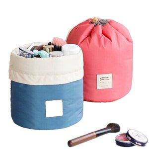 2021 Drawstring Cosmetic Bag Barrel Shaped Travel Nylon High Capacity Wash Makeup Organizer Storage