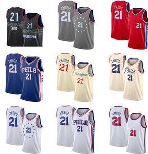 Toptan Basketbol Forması Erkekler Joel 21 Embiid Formalar Kırmızı Mavi Beyaz Siyah Gri Üniforma