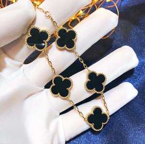 5 Colors Fashion Classic 4 Four Leaf Clover Charm Bracelets Bangle Chain 18K Gold Agate Shell Mother-of-Pearl for Women&Girls Wedding Mother's Day Jewelry Women Gifts
