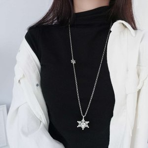 necklace925 sterling silver inlaid with diamond Snowflake Long Necklace Korean ins fashion trendy women's versatile sweater chain jewelry