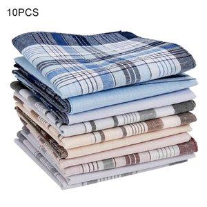 10Pcs lot Square Multicolor Plaid Stripe Men Women Pocket for Wedding Party Business Chest Towel Handkerchiefs Scarves 38*38cm