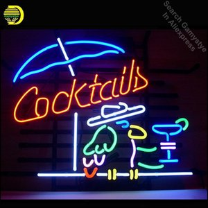 NEON SIGN For COCKTAIL PARROT COCKTAILS Signboard REAL GLASS BEER BAR PUB display outdoor Light Signs 17*14 vintage neon signs