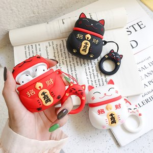 Lovely Lucky Cat Earphone Cases for Airpods Pro Apple Air pods 1 2 Cartoon Silicone Headphone Protective Cover