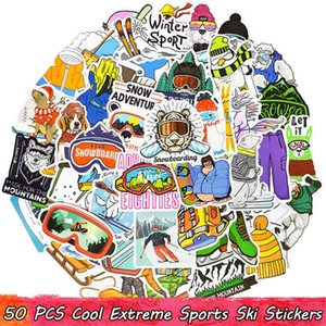 50 PCS Cool Extreme Sports Waterproof Ski Vinyl Stickers Pack for Kids Teens Adults to DIY Water Bottle Scooter Luggage Motorcycle Bicycle U1ES