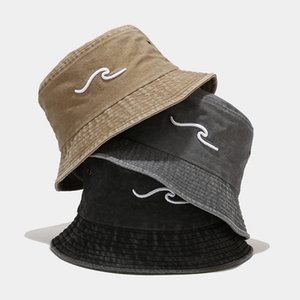 New ins wash wave 3D embroidery fisherman's hat men's and women's outdoor sun visor basin hat
