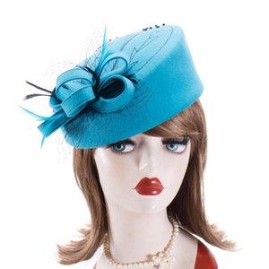 Cappelli affascinatori per le donne inverno ricamato velo velo in feltro di lana cappelli di pillola per cappelli formale cocktail party cappelli da sposa Fedoras A140