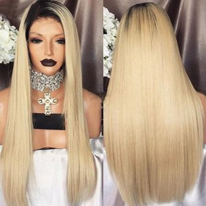 Synthetic Wigs 1B 613 Blonde Ombre Lace Front Wig Straight Heat Resistant Fiber Replacement For Women Free Part