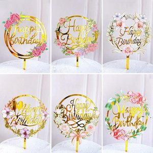 New Home Colored flowers Happy Birthday Cake Topper Golden Acrylic Birthday party Dessert decoration for Baby shower Baking supplies BWD6224