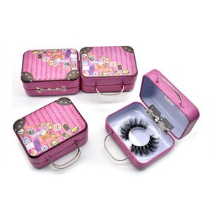 Eyelash Makeup Case Retro Mini Tinplate Suitcase Without False Eyelashes Base Small Eye Lash Packaging Box