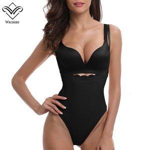 Wechery Sexy Plunge U Neck Body Shaper Lace Butt lifter Wait Trainer Corset bodysuits Slimming Underwear