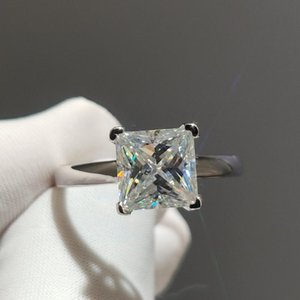 Cluster Rings Real Silver 1-2 Diamond Test Passed Excellent Cut D Color Moissanite Square Princes Ring Female 925 Wedding Jewelry