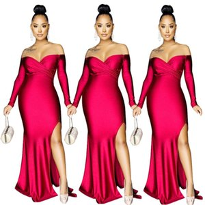 Party Gowns 2021 Evening Dress INS Sexy Lady Side Split Mermaid Maxi Dress with Long Sleeves V Neck Elegant Red Stunning Women