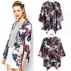 Women Print Floral Loose Casual Chiffon Shirts Summer Holiday Cardigan shirt1