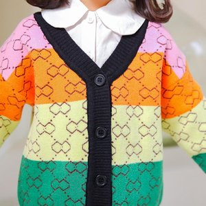 Pullover Girls Cardigan Sweater Autumn Winter Kids Long Sleeve V-Neck Geometric Lattice Knitted Top 2-6 Years Children Fashion Clothes