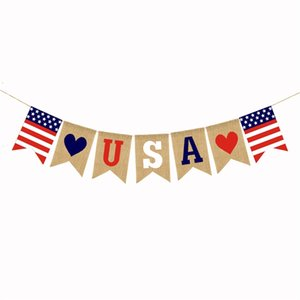 USA Swallowtail Banners Independence Day String Flags USA Letters Bunting Banners 4th of July Party Decoration 1363 V2