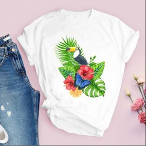 Women Graphic Cartoon Beach Flower Womens T Shirts Butterfly Short Sleeve Printed Tops Lady Tees Clothing Female Shirt