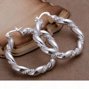 925 sterling silver plated twist ropes earrings for women fashion ear jewelry silver wedding wear